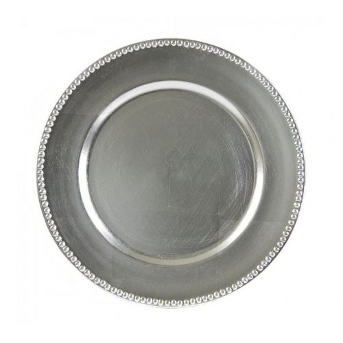 BEADED SILVER Charger Plate / Underplates 33cm